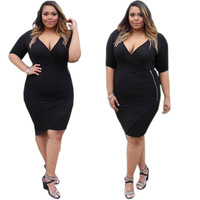 F20461A New fashion fat women dresses deep v neck slim black dress irregular dress with zipper plus size women clothing