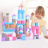 Kids Montessori Baby Early Educational Toy DIY Assembling Wooden Building Block