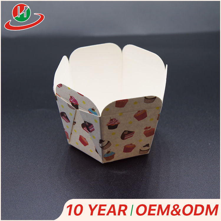 Custom Promotional muffin/souffle /small cake hexagon baking paper cupcakes cups