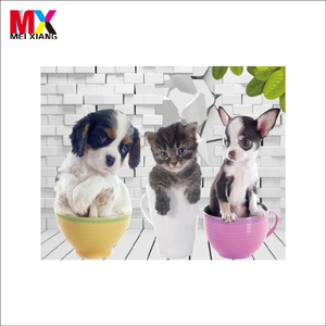 Wholesale PET 3d decorative wallpaper of animal dog cats