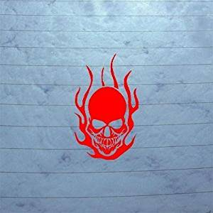 CAR LAPTOP AUTO HELMET DECAL CAR DECOR WALL WALL ART DEVIL DEMON SKULL DEATH ART VINYL DECORATION RED DIE CUT by cybersavs