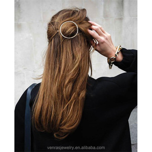 Punk Gold Silver Round Metal Hair Barrette Circle Hair Clip Hairpin For Women Girls Hair Accessories Head Jewelry