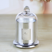 Extravagant High Quality Sliver Custom Glass Jar Scented Candle glass dome candle jar