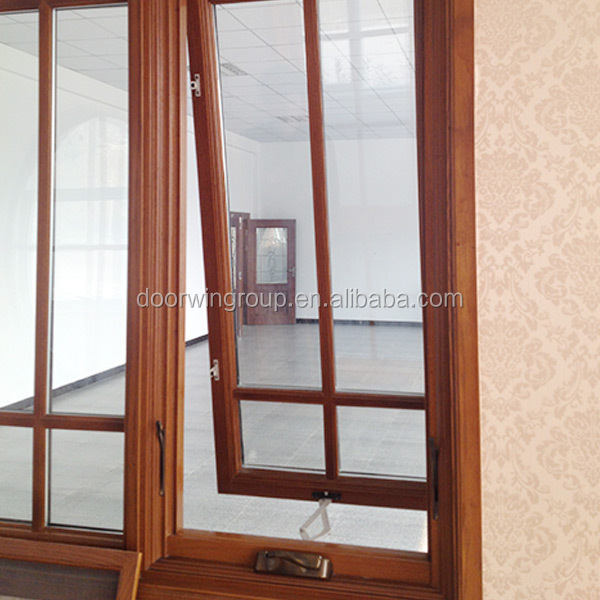 CE Certified Aluminum Clad Wood Crank Window Awning Outward Opening Casement Window with Grilles