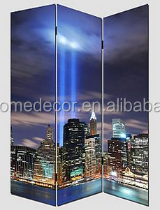 3 panels led lighted city scenery room divider partition interior