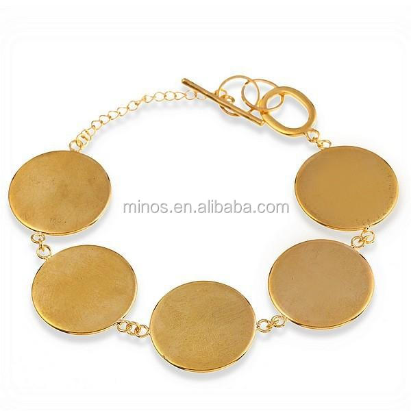Gold Plated Round Cabochon Disc Blank Setting Bezel Pad Bangle Bracelet Base 16mm for DIY Jewelry