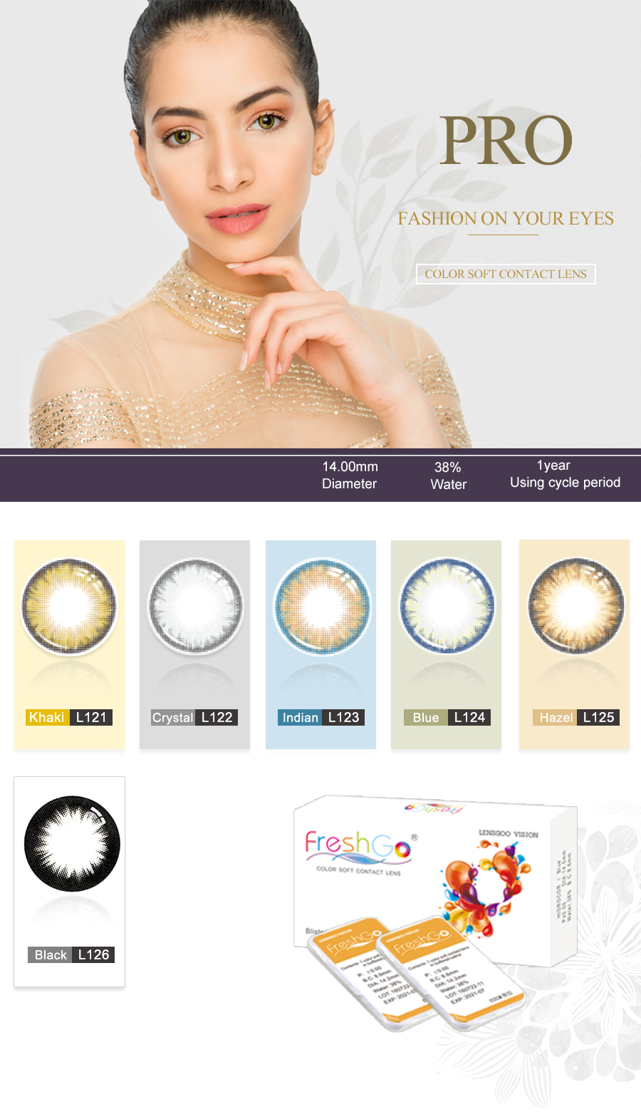 Freshgo wholesale high quality ultrathin comfortable soft natural color eye contact lenses