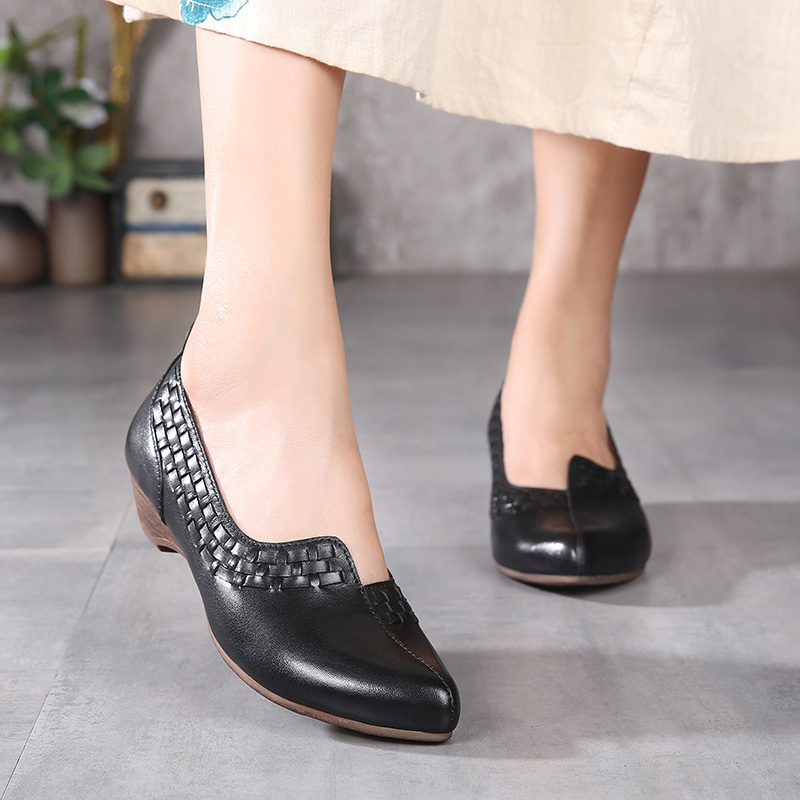genuine women's pumps heel toe design block shoes leather dress pointed latest supplier heel ladies woven high w8PqXzA