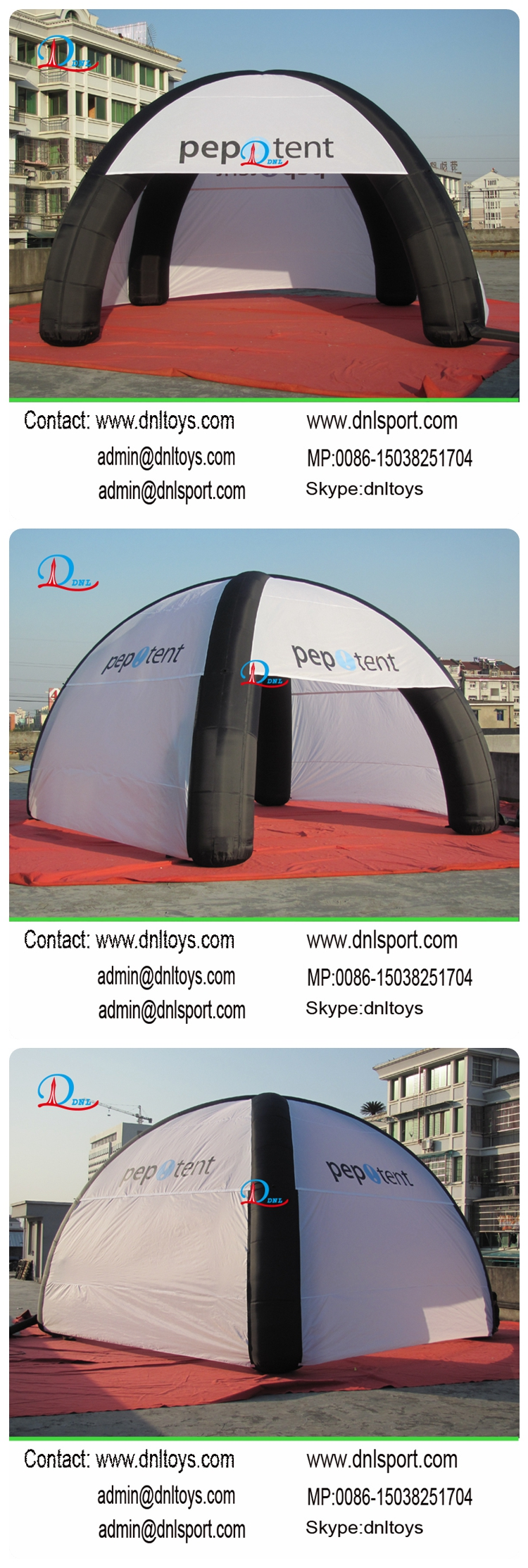 Customized inflatable tent shed