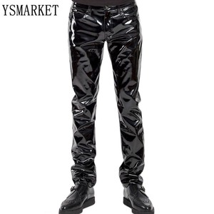 YSMARKET S-XXL Sexy Men High Elastic PU Leather Shiny Pencil Pants Tight Glossy Punk Stage Show Wear Men Trousers E6005