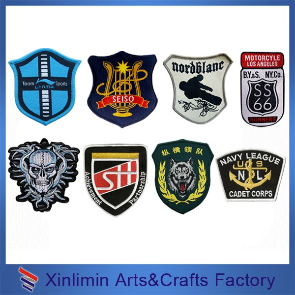 Custom chinese cheap large sportswear hand made textile embroidery name badge for garments hoodies