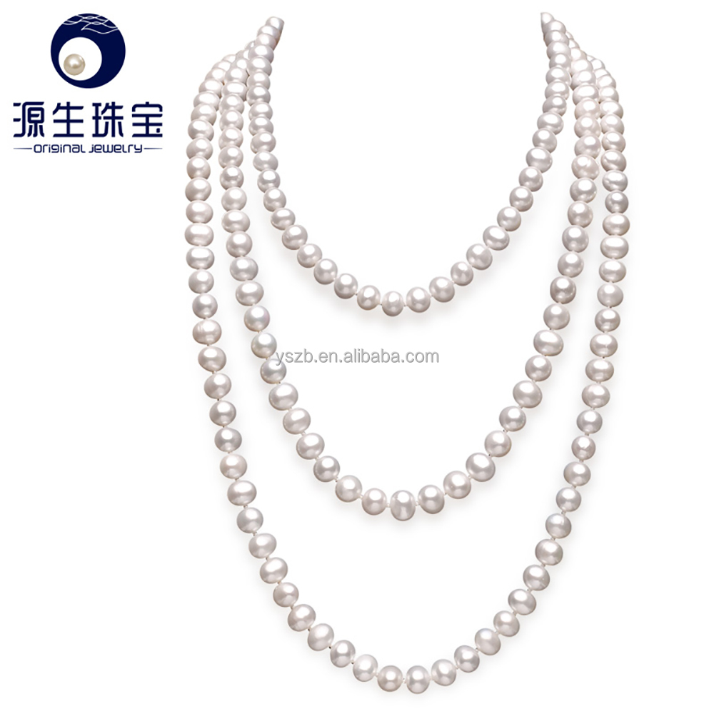real pearl necklace 3 rows original colour pearl neclace for wholesale