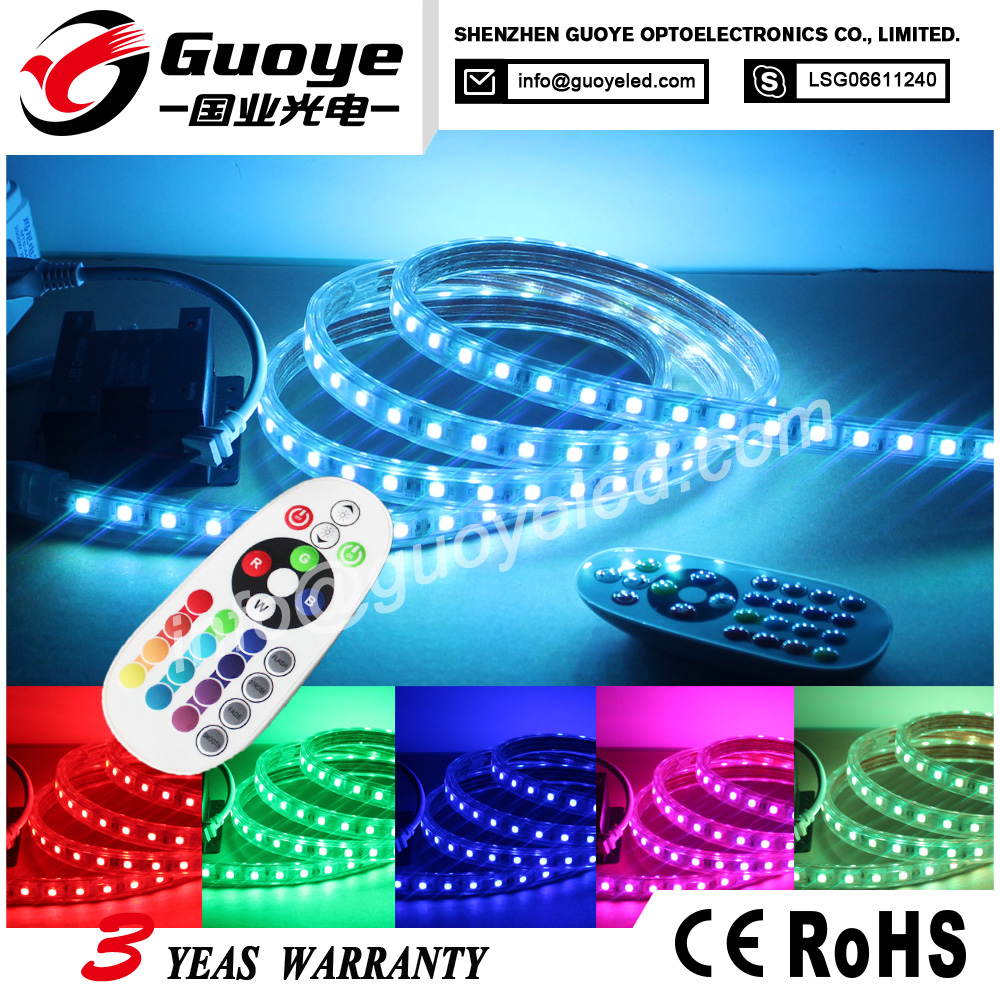 High lumen 230v led strip rgb 50m with connecter dimmer for Hotel designs city lighting
