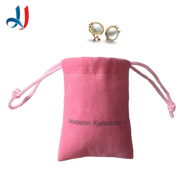 hot Selling Cheap Promotional Logo Printed Custom Pink  pretty Jewelry Velvet Drawstring Bags