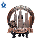 The Windy City Chicago Popular Attractions Souvenir Metal Tabletop Display Plate