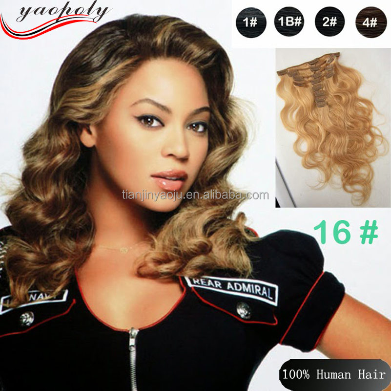 Wholesale Malaysian Remy Human Hair Extension for <strong>black</strong> and white women Clip In Hair Extention
