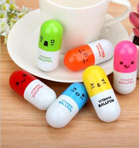 Lovely Kawaii Pill Shaped Ballpoint Pen Cute learning stationery Student vitamin pill novelty pen