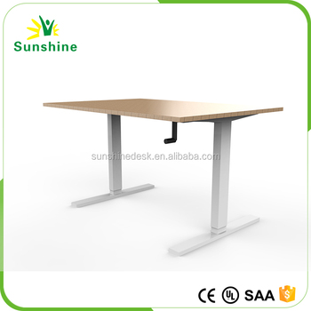 Manual Height Adjustable Desk Hand Crank Lift Table