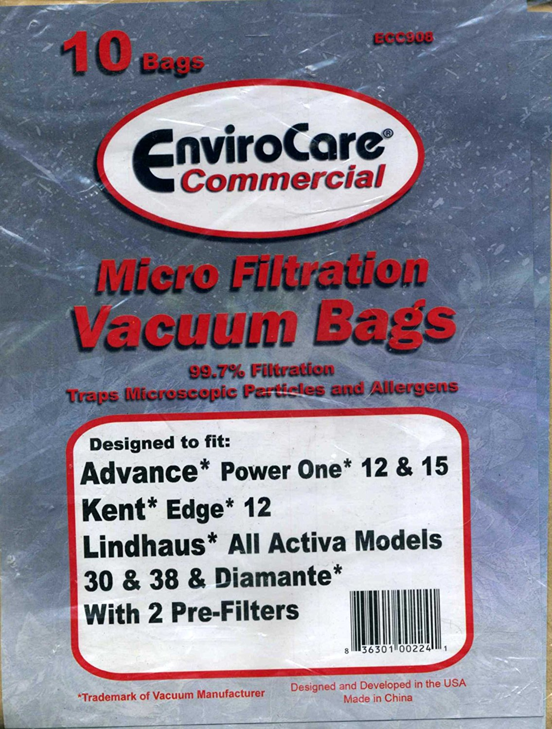Micro Filtration Vacuum Bags 10 Count EnviroCare Commercial 99.7% Filtration