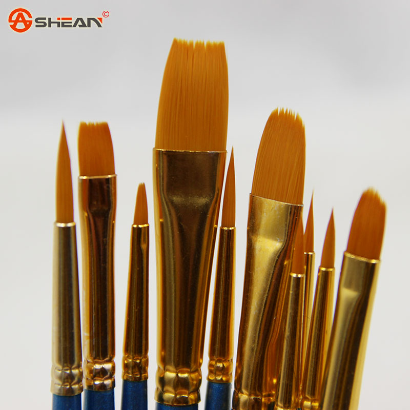 10pcs lot High Quality Kids Watercolor Gouache Painting Pen Nylon Hair Wooden Handle Paint Brush Set
