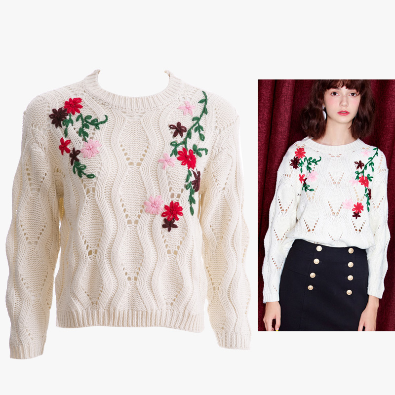 2017 S/S ladies's Embroidered jumper, Oversized fit sweater with Floral embroidered