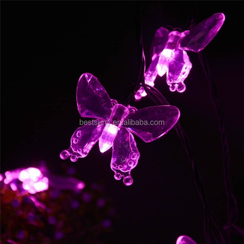 ABTSOLAR Butterfly Lamp Series LED Waterproof Christmas Festival Decoration Butterfly Lamp String Colored Lights