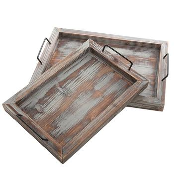 Set of 2 Country Rustic Whitewashed Brown Wood Finish Rectangular Nesting Serving Trays w/Metal Handles