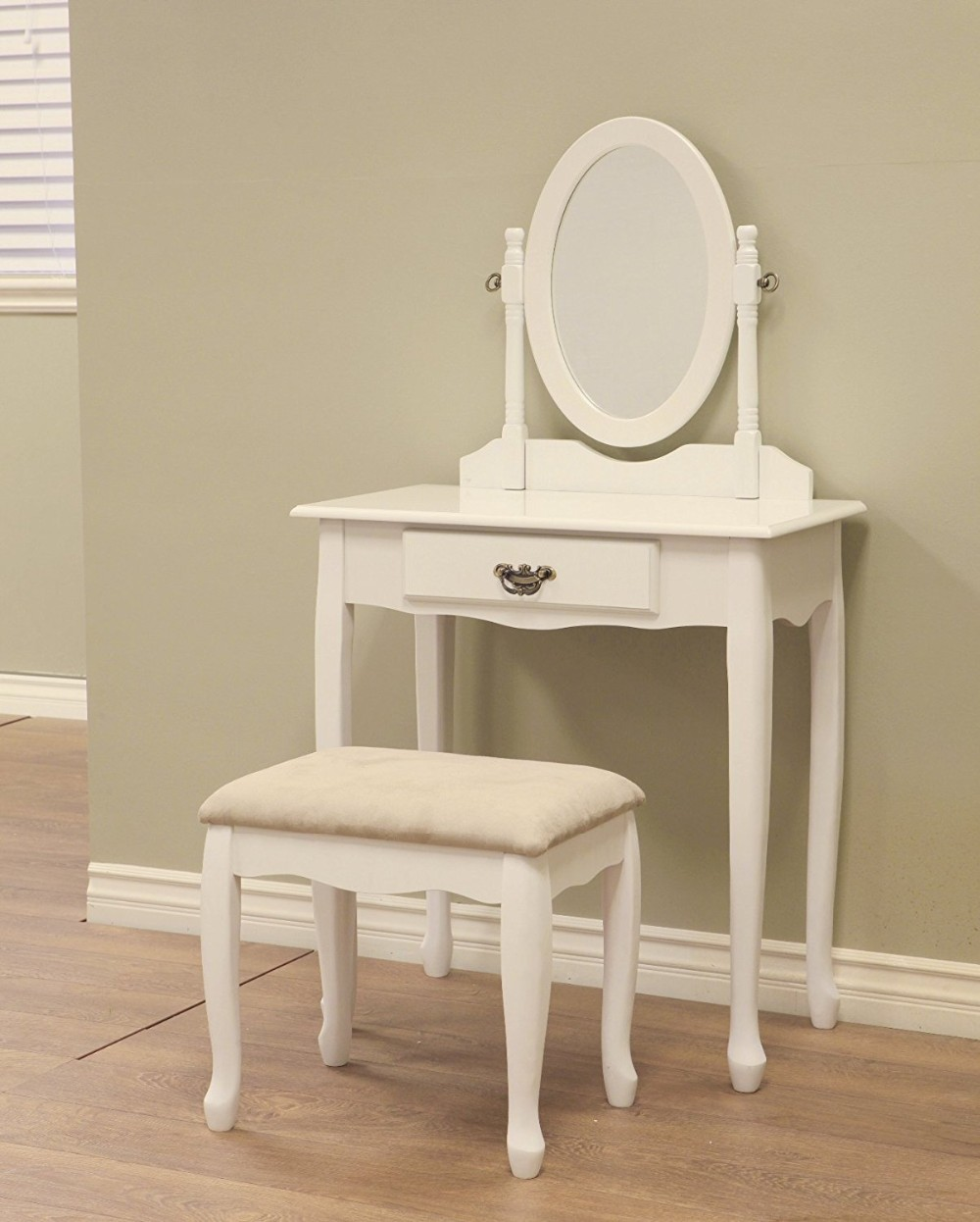 Vanity Dresser Stool Mirror Set Girls Kids Childs Dressing