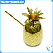 Popular Pineapple gold Cup/ Moscow copper plated Mug With Lid/ Beer Mug,12oz Copper Pineapple Cup with Straw