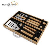 Hot Selling 5 STKS Bamboe Case <span class=keywords><strong>BBQ</strong></span> Gereedschap Set