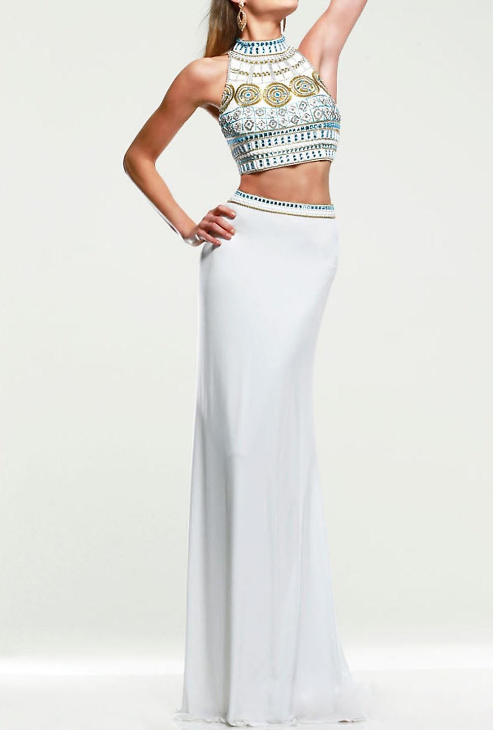00f99ca7eaf6 Get Quotations · Sexy Long crop top Prom Dresses 2015 Rhinestone Two Piece Prom  Dress high neck open back