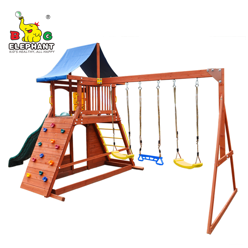 Cheap Price Outdoor Wooden Playground Swing Set With Plastic Slide