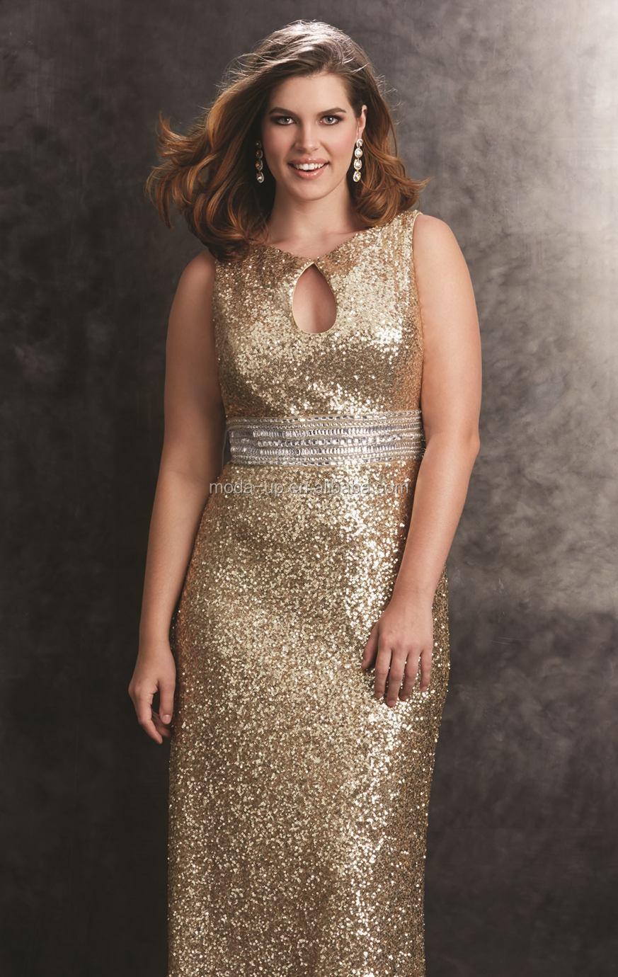 Bling Gold Evening Dress,Fat Women Dresses,Evening Dress For Fat ...