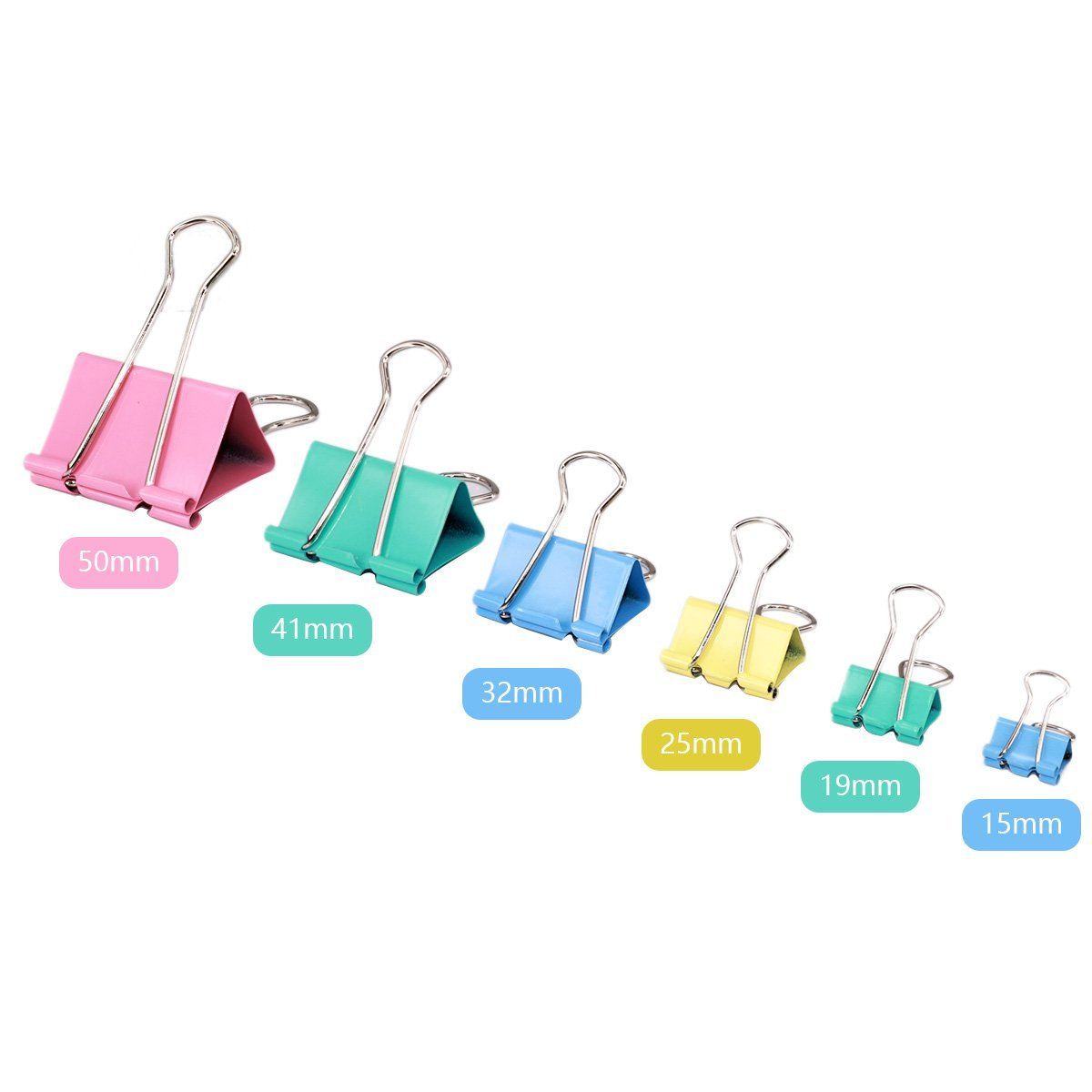 "SunAngel Organize Metal Paper Binder Clips, Assorted Colors and 6 Different Size, Size Including: 1/2""(15mm), 3/4""(19mm), 1""(25mm), 1-1/4""( 32mm), 1-3/4""(41mm), 2""(50mm), 100-Count"