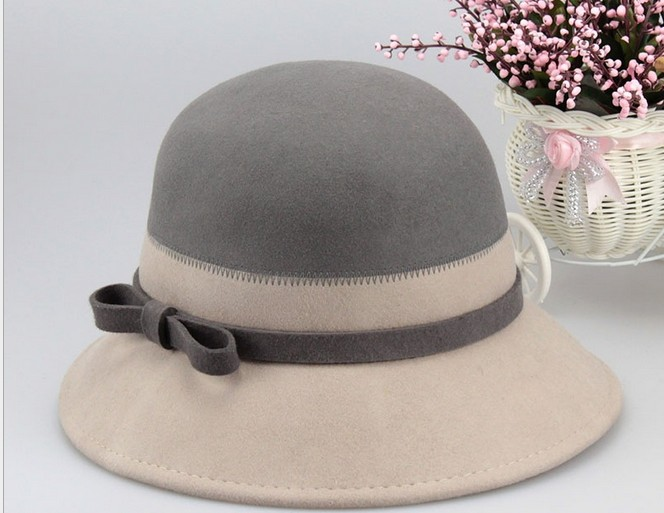 elegant Womens 100% wool felt choche hat s with bowknot