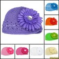 10x Fashion New Baby Infant Toddler Hand Crochet Beanie Hat Daisy Flower Clip Free Shipping