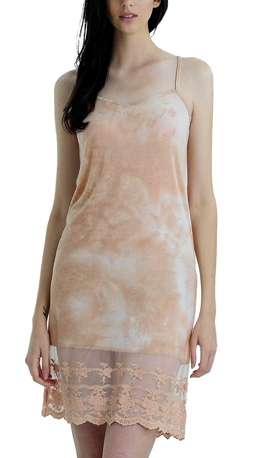 7f7445649 Get Quotations · Melody Shop Lev Women s Knit Tie Dye Full Slip Dress  Extender with Lace Bottom