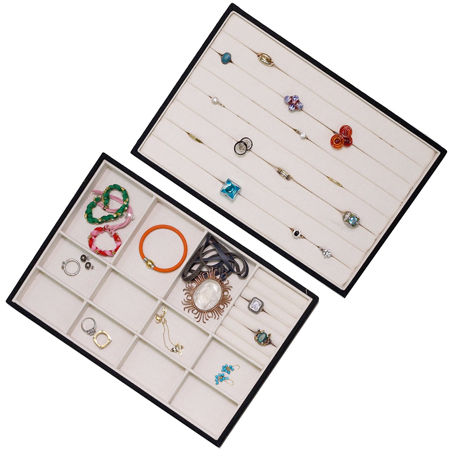 Jewelry Ring Organizer Trays Stackable Storage Showcase Display Canvas