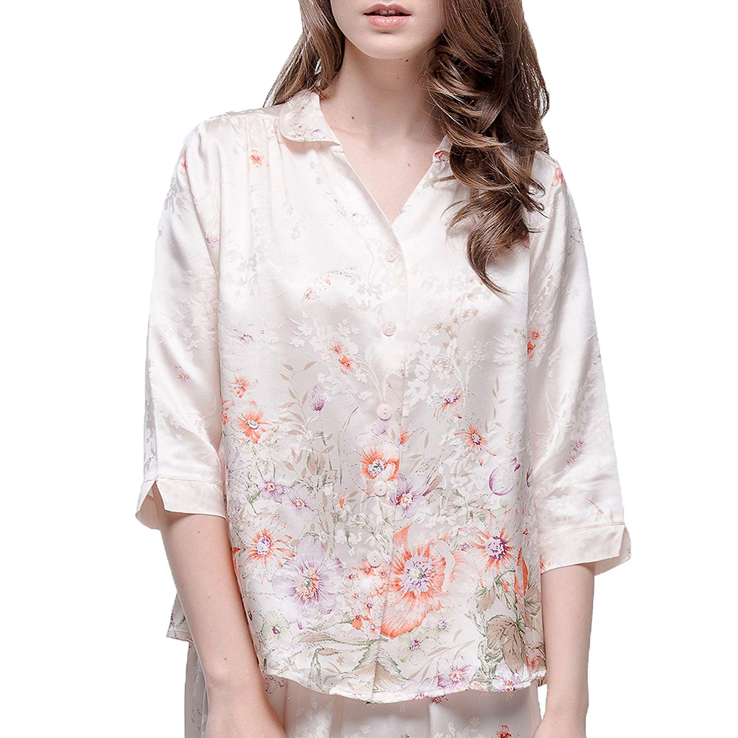 6a611461b5 Chesslyre Women s Luxury Charmeuse Jacquard Foral Print Silk Satin Pajamas  2 Piece Set