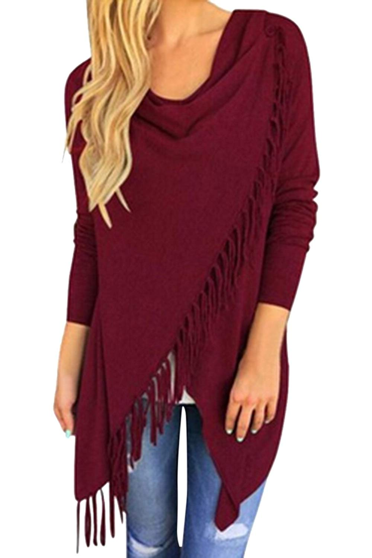 Viottis Women's Tassel Hem Crew Neck Knited Cardigan Sweater Coat Outwear