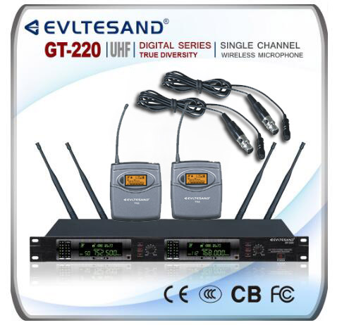 GT220 NEW PRO UHF WIRELESS CORDLESS MIC MICROPHONE SYSTEM 2 LAVALIER MICS