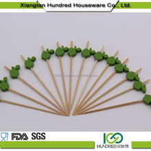 Wholesale natural antimicrobial red bamboo knotted skewer