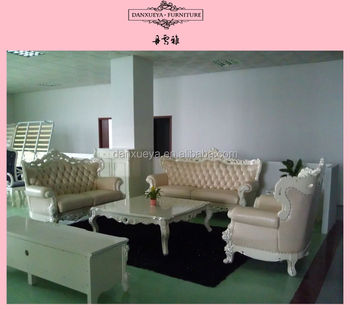 French Colonial Style White Fabric Curved Sofa