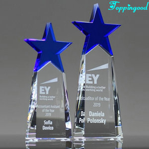 Glass Cut Crystal Blue Star Awards For Assitant Of Year