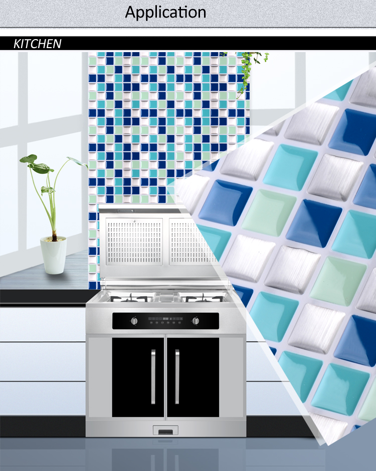 New design waterproof peel and stick kitchen mosaic tile designs