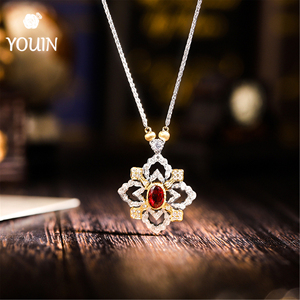 Ruby 18k Soild Gold Necklace Jewelry
