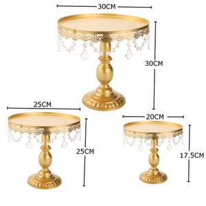 Silver Gold cake stand with hanging crystals wedding cake stands