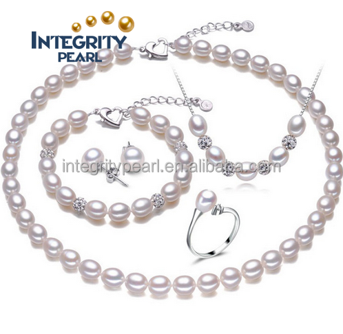 fashion four suit rice freshwater pearl accessories and wedding 925 silver ring earrings or jewelry party