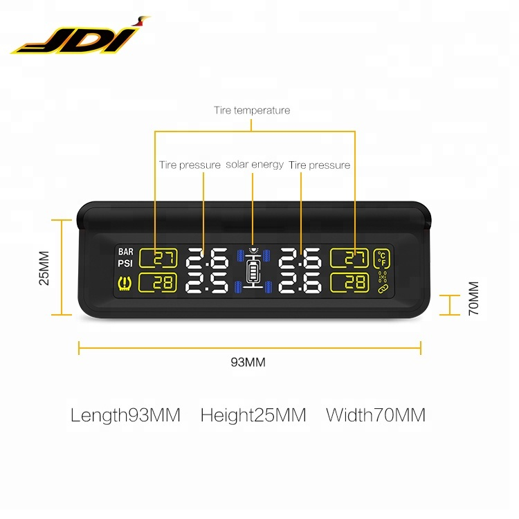 Nieuwste stijl Solar TPMS Auto Tire Diagnose-tool met mini externe sensor Auto Wireless solar power tpms externe