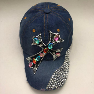 Blingbling rhinestone cross shape denim baseball caps and hats